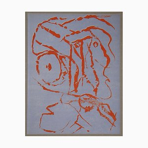 Abstract Portait Lithograph by Pierre Alechinsky