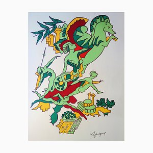 Faster, Higher, Stronger Lithograph by Charles Lapicque, 1972