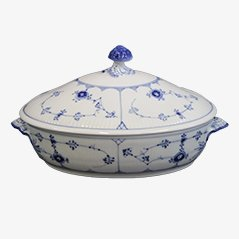 Blue and White Fluted Porcelain Tureen by Royal Copenhagen