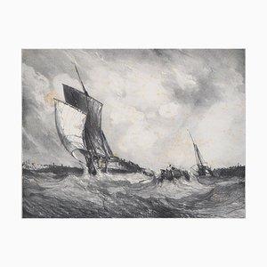 Retour au Port Lithograph by Eugène Isabey