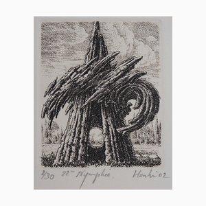 22ème Nymphée Gravure by François Houtin