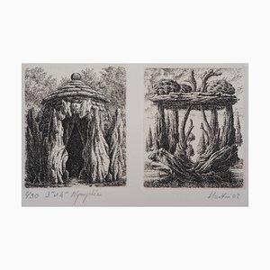 3e et 4ème Nymphées Gravure by François Houtin