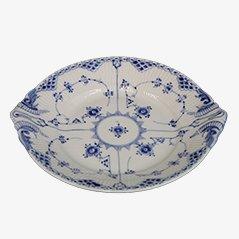 Plato de pastel en azul y blanco de porcelana de Royal Copenhagen, años 70