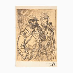 Officers with a Pipe and a Rose Lithograph by Théophile Alexandre Steinlen