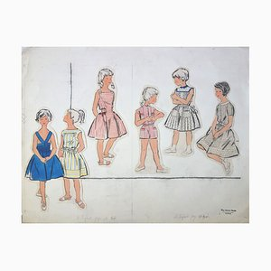 Dresses for Little Girls Fashion Drawing by Rosy Andreasi-Verdier