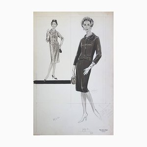 Tailleur Ouvert Fashion Drawing by by Rosy Andreasi-Verdier