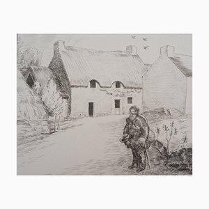 Paysage au Vagabond Engraving by Jean-Emile Laboureur