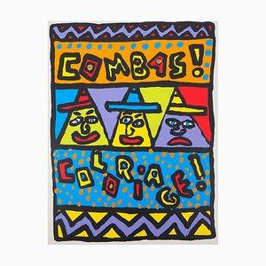 Stampa Trois Personnages su seta di Robert Combas