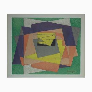 Abstract Cubist Composition Lithographie von Jacques Villon, 1961