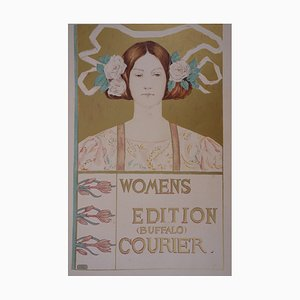 Young Woman with Flower Lithograph by Alice R. Glenny, 1897