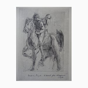 Dante and Pegasus Engraving Reprint by Auguste Rodin, 1897