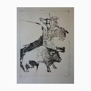 L'entrée du Picador Engraving by Bernard Lorjou
