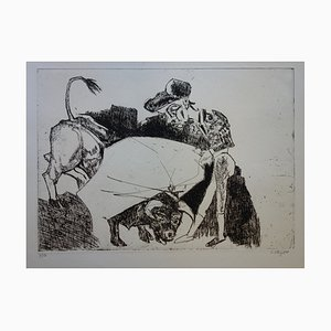 Gravure La Passe du Torero par Bernard Lorjou