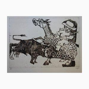 Picador et Taureau Engraving by Bernard Lorjou