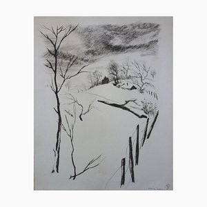 Paysage d'hiver Drawing by Gaston Barret