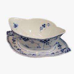 Saucière Blue Fluted Half Lace en Porcelaine par Royal Copenhagen, 1964