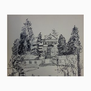 House at The End of The Park Drawing by Jules Cavaillès