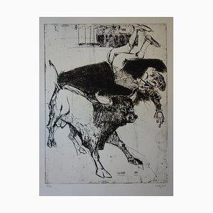 Torero Renversé Engraving by Bernard Lorjou