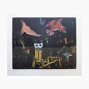 Les Oiseaux Dans la Nuit Engraving by Mordecai Moreh