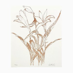 Small Orange Lily Lithograph by Bernard Cathelin