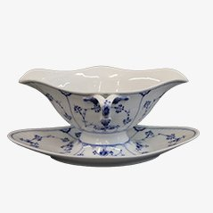 Blue Fluted Porcelain Sauceboat by Royal Copenhagen