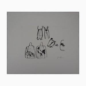 René GENIS : Bali, Coqs en cages - Dessin Original Signé