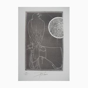 Pierre-Yves TREMOIS - Fauconnerie : Aigle face au soleil, gravure originale signée