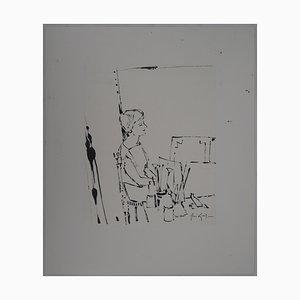 Disegno Jeune Femme dans l'atelier di René Genis