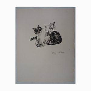 A Couple of Cats Lithograph by Jacques Nam