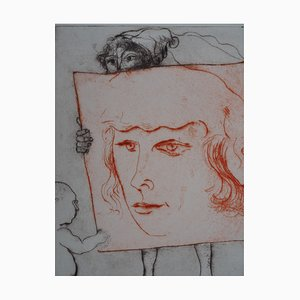 A Tribute to Filippino Lippi (Portrait of a Court man) Etching by Mordecaï Moreh