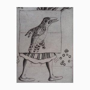 Incisione The Flight of the Bird di Mordecaï Moreh