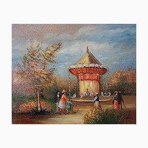 Olio su tela Le Caroussel di Michel Pabois