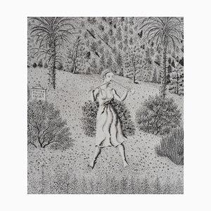 Gravure Les Trois Grâces Devant la Montagne par Jacques Houplain