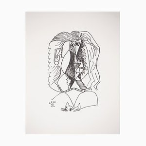 Geometric Portrait with a Cat Lithograph Reprint by Pablo Picasso, 1970