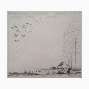 Acquaforte Le Vol des Canards di Jean-Emile Laboureur