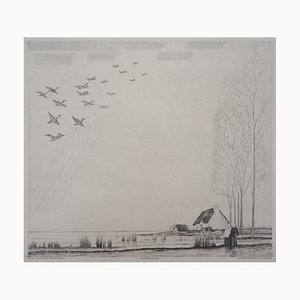 Le Vol des Canards Engraving by Jean-Emile Laboureur