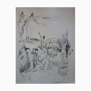 Les bergers Zeichnung von Gaston Barret