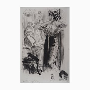 Femme en Négligé Engraving by Alméry Lobel-Riche