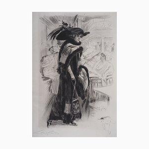 Femme en Noir Engraving by Alméry Lobel-Riche