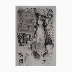 La promenade Engraving by Alméry Lobel-Riche