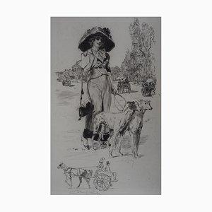 La Promenade des Chiens Engraving by Alméry Lobel-Riche