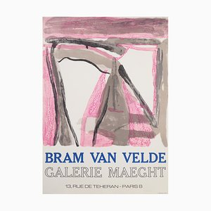 Bram VAN VELDE : Composition rose et brune - Lthographie originale