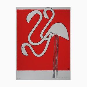 Charles LE BARS - White flamingos, original signed screenprint