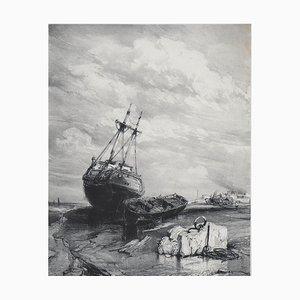 Marée Basse Lithograph by Eugène Isabey