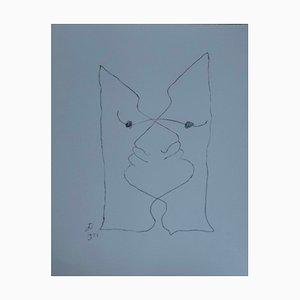 Litografia Visages Entremêlés di Jean Cocteau