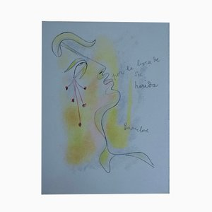Litografia Profil Sang et or di Jean Cocteau