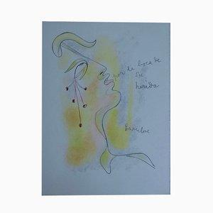 Profil Sang et or Lithograph by Jean Cocteau