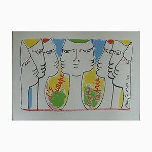 Litografia Construction Européenne di Jean Cocteau