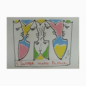 Lithographie L'Europe Pont des Civilisations par Jean Cocteau