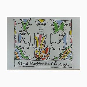 Visages de l'Europe Lithographie von Jean Cocteau